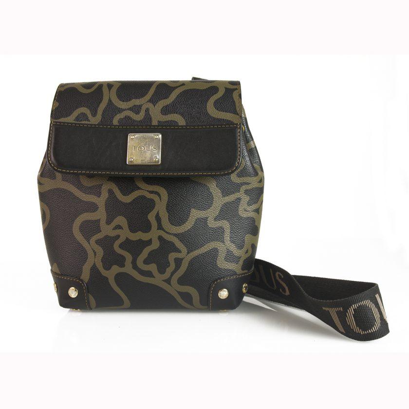 TOUS Black Beige Bear Signature Flap Top Messenger Style Bag Handbag