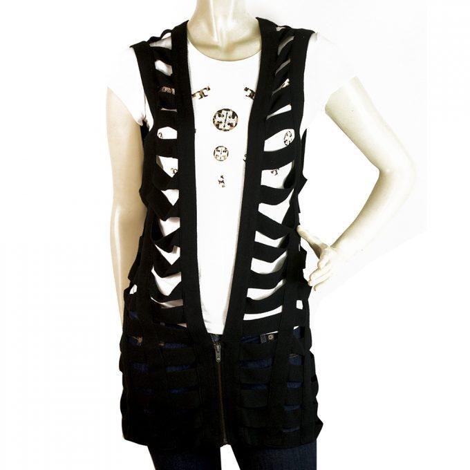 Twenty8twelve by Sienna Miller Black Long Knit Top Gillet Cardi vest size M