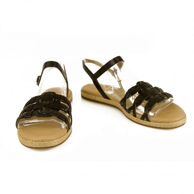 UGG Australia Larissa Flats Sandals Black Leather Summer Shoes sz 38 Never Worn