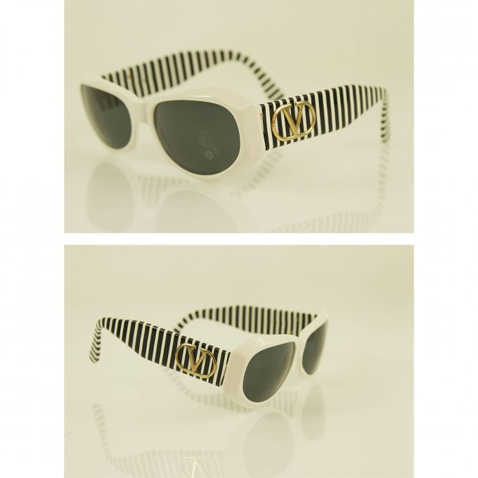 Valentino Black and White Striped Gold Tone Hardware Round Framed Sunglasses