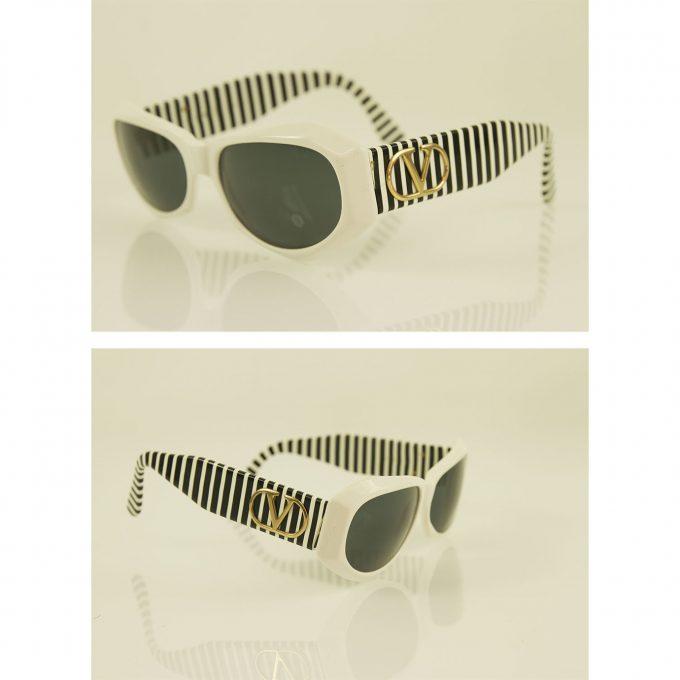 Valentino Black and White Striped Gold Tone Hardware Round Framed Sunglasses