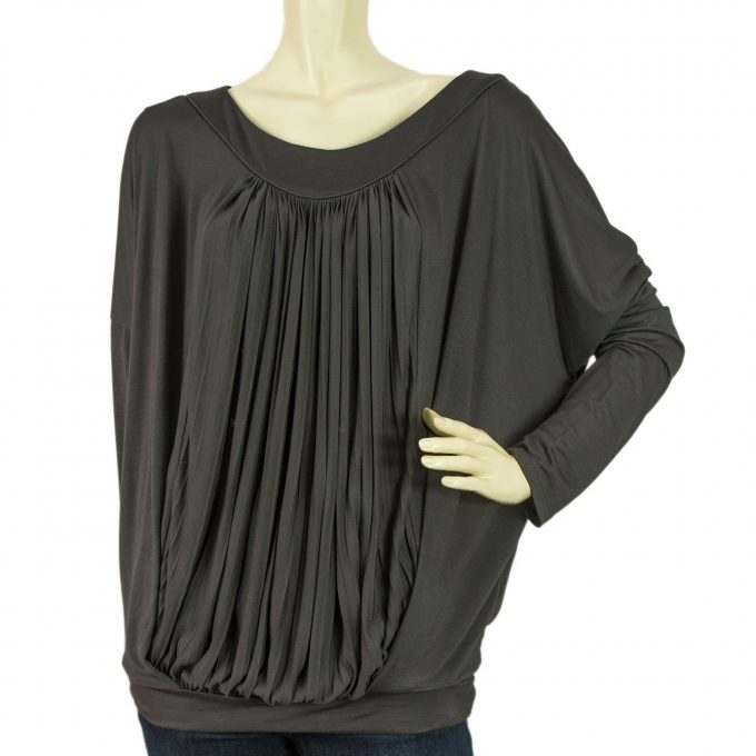 Vanessa Bruno Athe Gray Pleated Front Dolman Long Sleeve Blouse Top Sz 2
