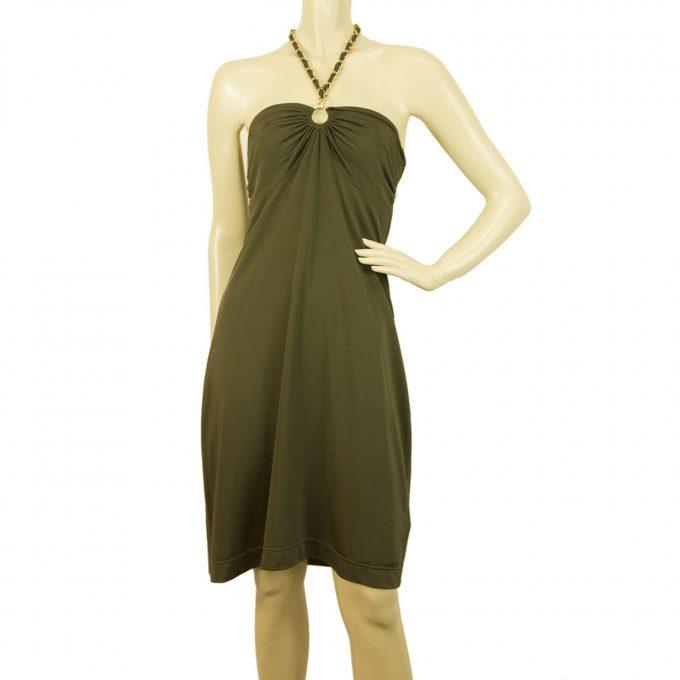 Who's Who Khaki Green Halter Neck Gold Tone Chain Open Back Dress - Sz M