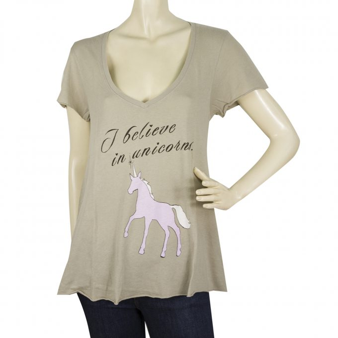 WILDFOX Short Sleeve Khaki Unicorn Cotton T- Shirt Top Blouse Sz S