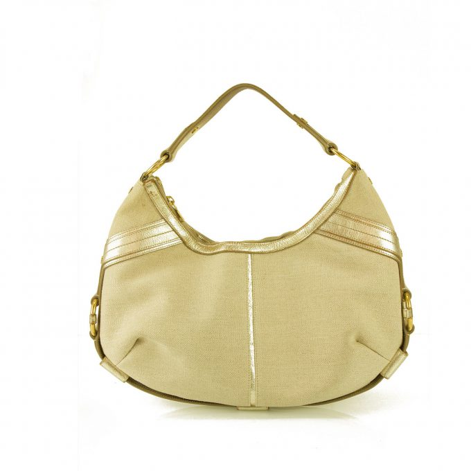 Yves Saint Laurent YSL Gold leather beige fabric Leather Mombasa Shoulder Bag