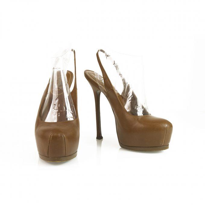 Yves Saint Laurent YSL Tribute Brown Leather Slingback Platform Heels Pumps 38