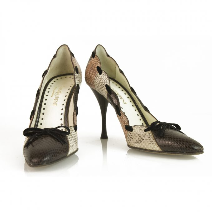 Yves Saint Laurent YSL Snakeskin Leather Brown Beige Pumps w. Bow sz 36 Shoes