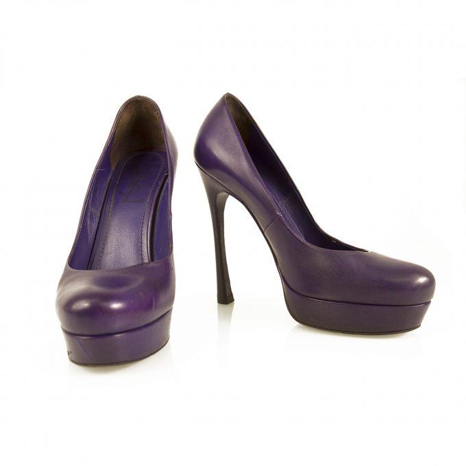 Yves Saint Laurent YSL Tribute Purple Leather Round toe Platform Heels Pumps 37