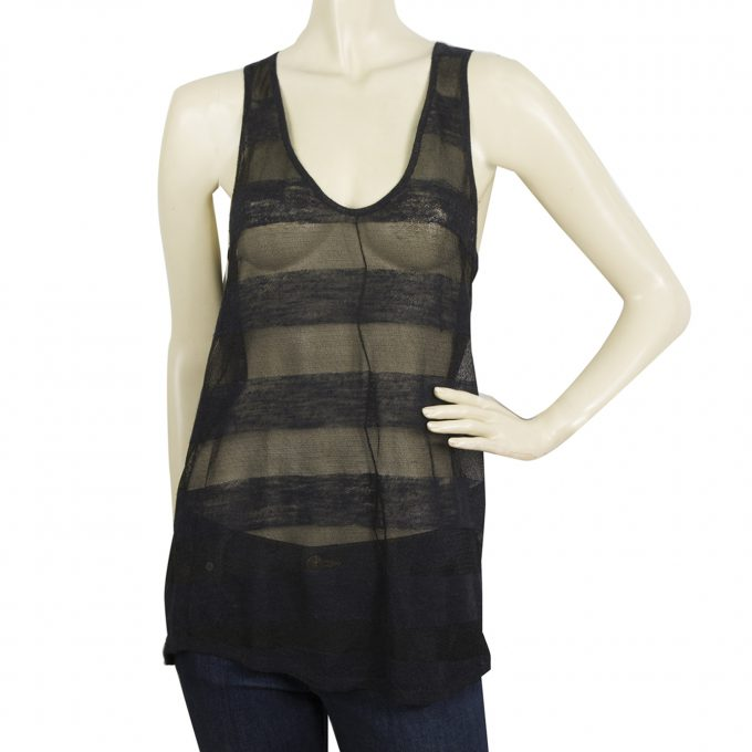 Zadig & Voltaire Joss Deluxe Black Sheer Striped Sleeveless Tank Top Blouse sz M