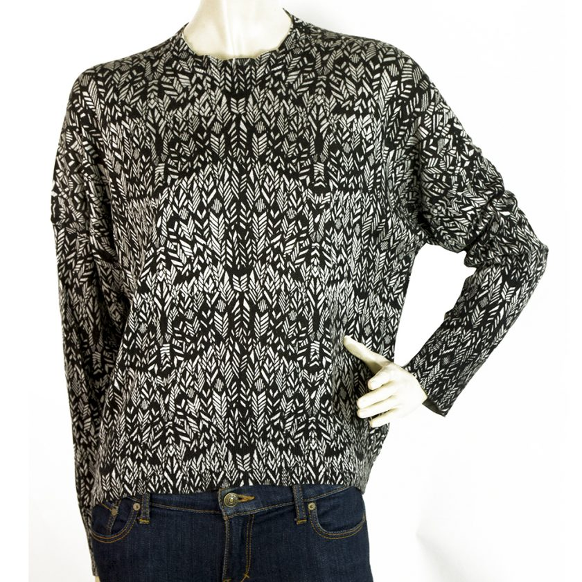Zadig & Voltaire Marcus Black & Gray Silk Cashmere Sweater Blouse Top sz S