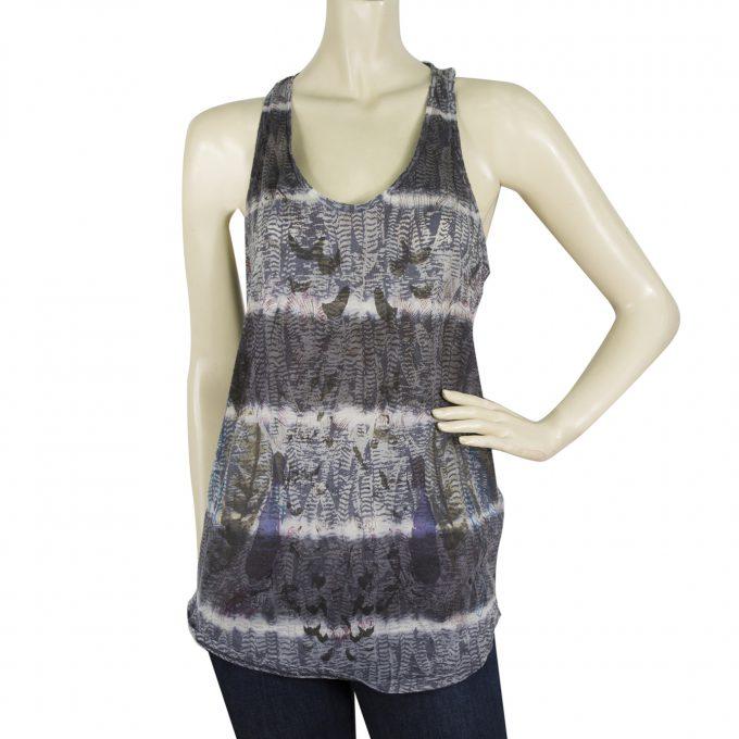 Zadig and Voltaire Delta Burn Tie & Dye Blue Gray Tank Vest Top Size M