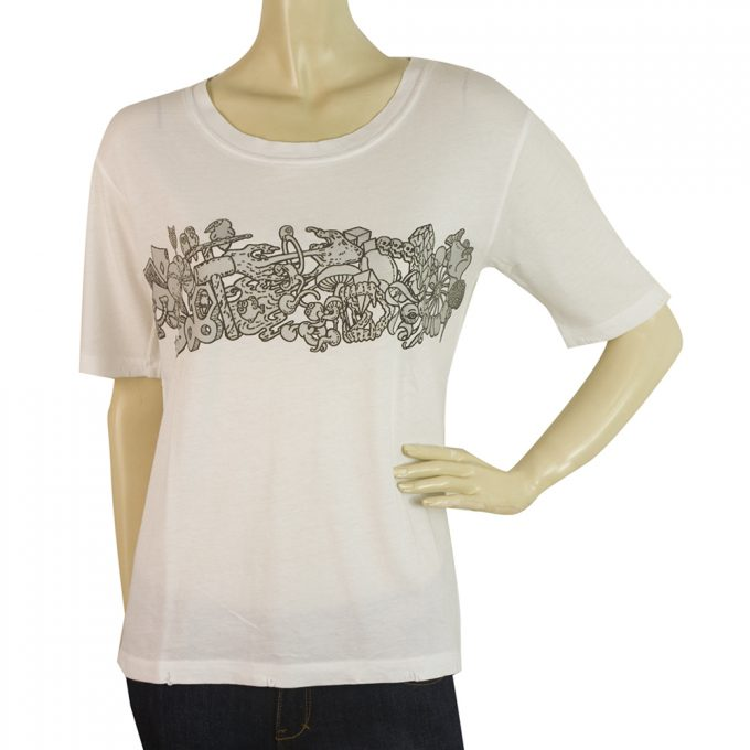 Zadig and Voltaire Kanye Bis White Short Sleeve Cotton Top T-shirt size S