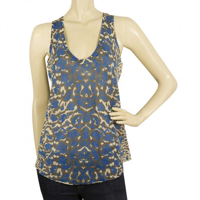 Zadig & Voltaire JOSS Print LN Leopard Sleeveless Tank Top Linen Blouse sz S