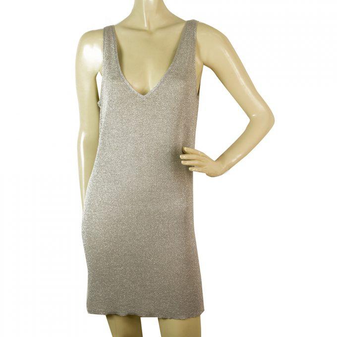 Zadig & Voltaire Deluxe Silver Gray Metallic Shine Sleeveless Mini Dress size M