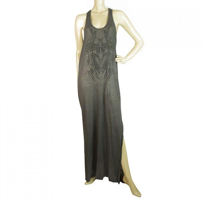 Zadig & Voltaire Gray Metallic Shine Sleeveless Long Maxi Summer Dress size S