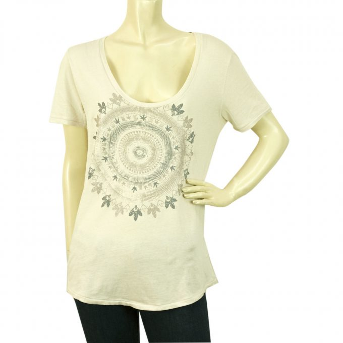 Zadig and Voltaire White Anyta Print Short Sleeve Long Cotton Blend T-shirt sz S