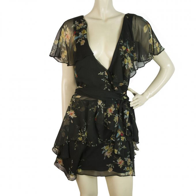 Zimmermann Floral Multicolor Silk Wrap Top Romper Playsuit Shorts size 2