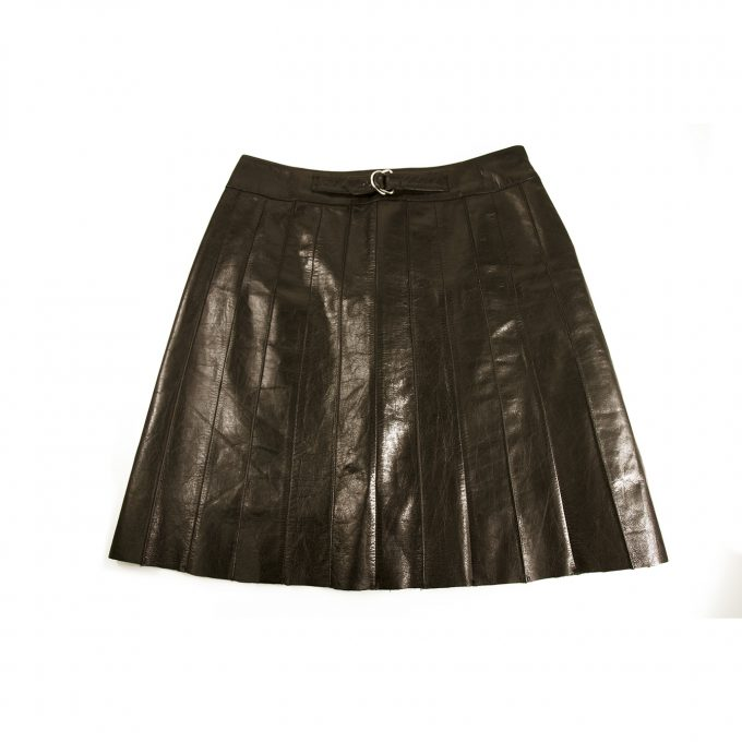 Zooi 100% Black Leather A- Line Skirt Size 42