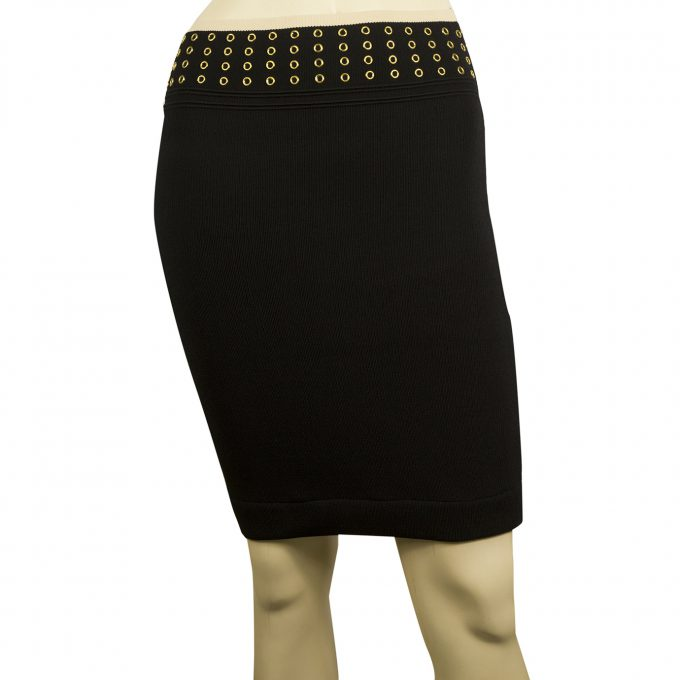 Black Elasticated Knit Mini Skirt w. Rivets at the Waist or Hemline Beige Trim