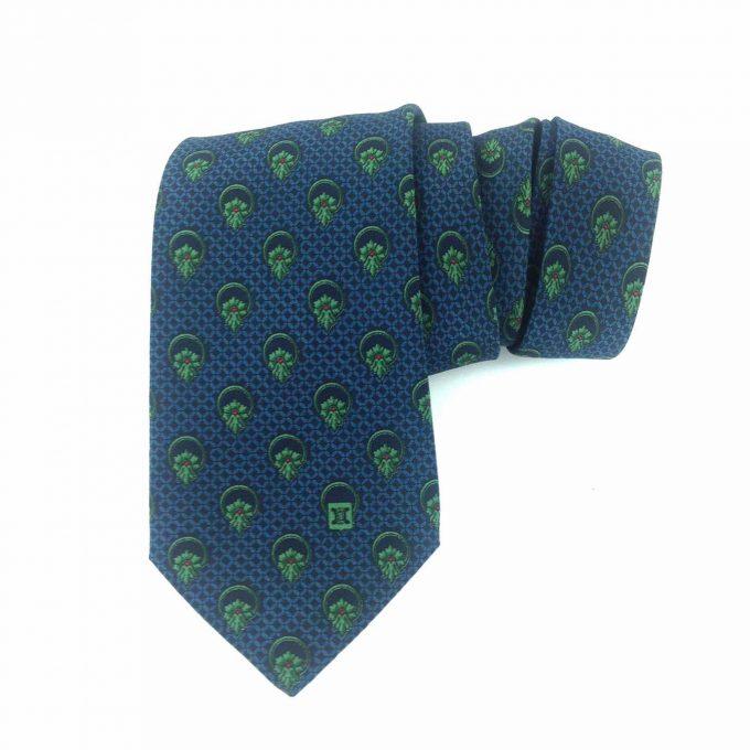Celine 100% Silk Blue & Green Floral Pattern Men's Neck Tie Necktie