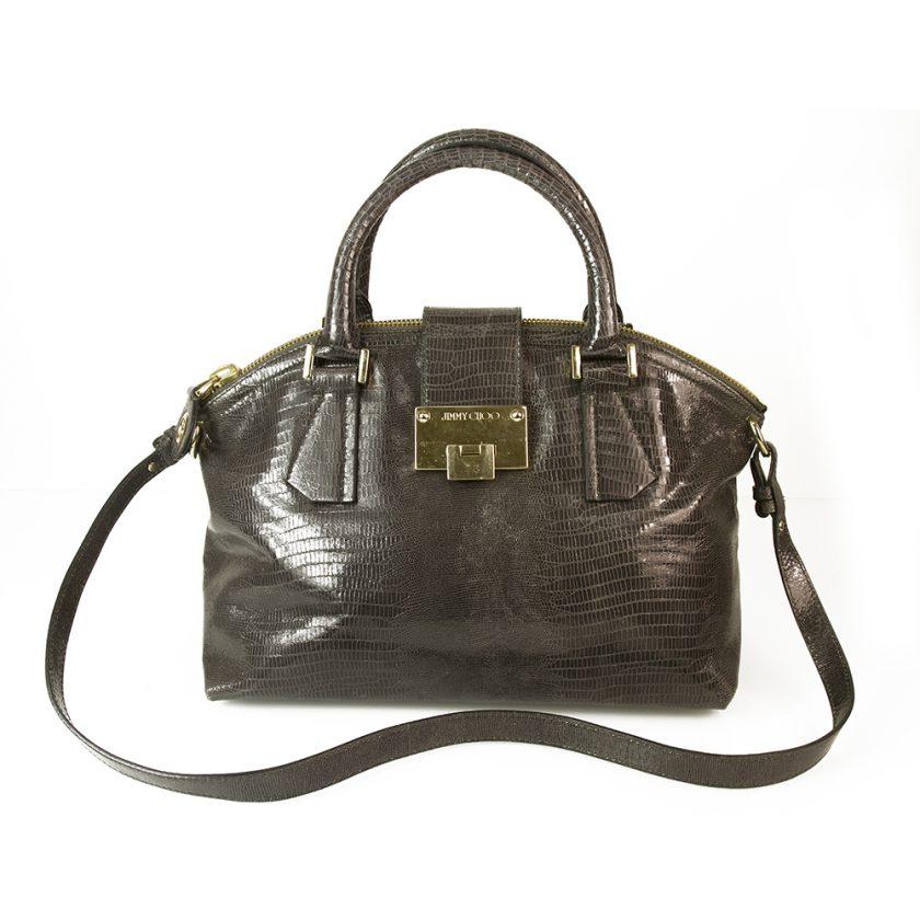 Jimmy Choo Rosa Shoulder Lizard Print Dark Gray Leather Shopper Bag Hobo Handbag