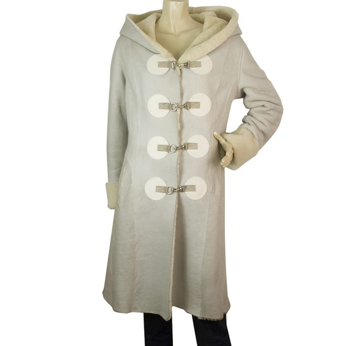 Humawaka Abrigar Light Gray Beige Hooded Cow Leather Coat size M
