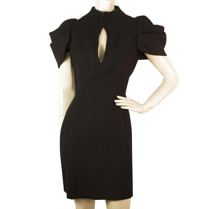 Alexander McQueen Black Key Hole Pleated Shoulder Mini Dress size 40