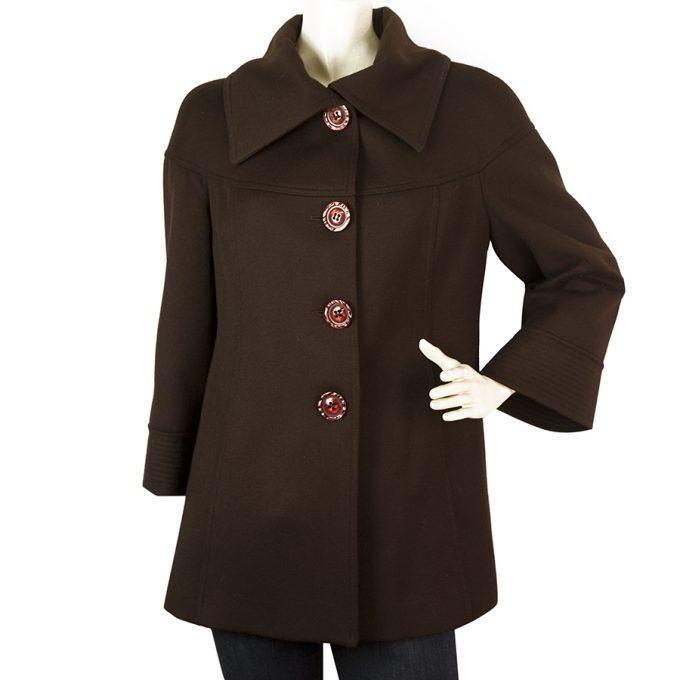 Allegra Carmine Brown Lambswool Women's Large Buttons Long Jacket - Sz 42