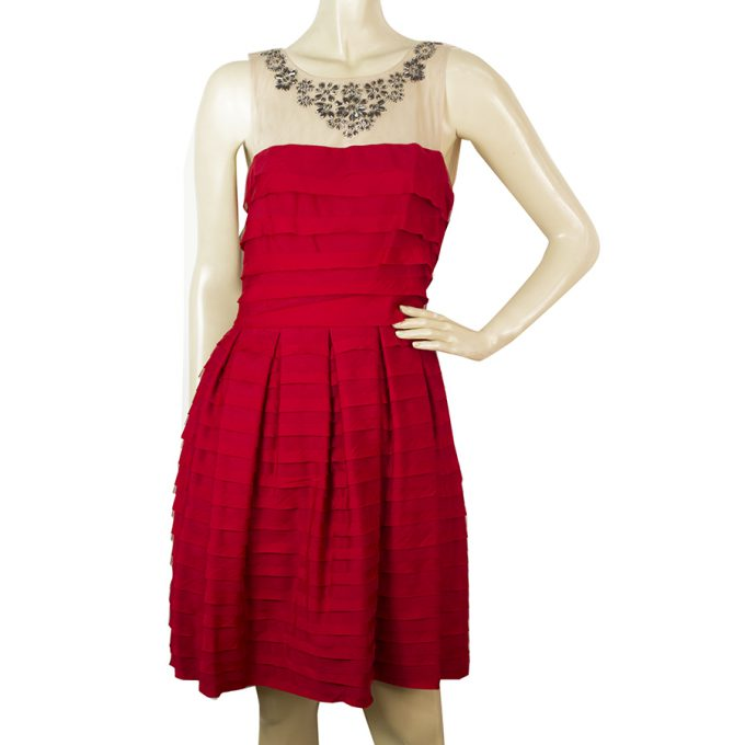 BCBG MaxAzria Red Ruffled Beaded Neckline Mini Length Dress size S