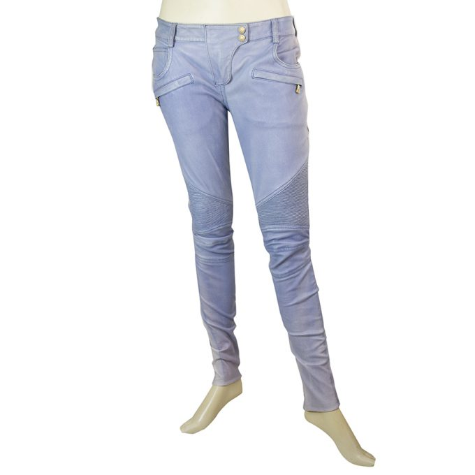 Balmain blue lambskin leather biker jeans size 36 Pants - trousers zips at cuffs