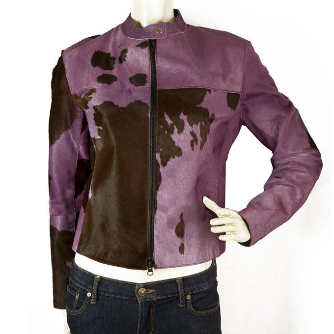 Bergdorf Goodman St Vincent Purple Brown Calfskin Leather Animal Biker Jacket S