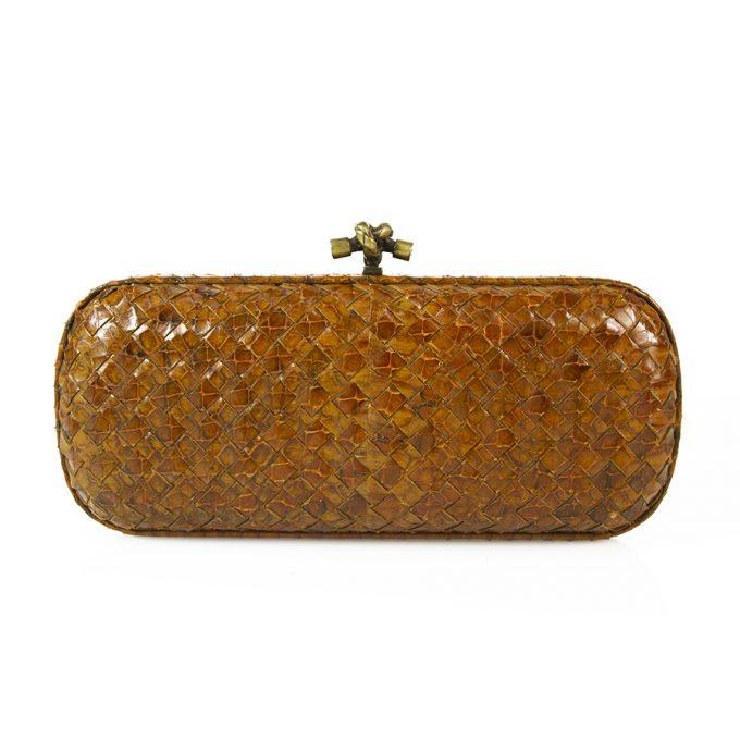 Bottega Veneta  intrecciato weaven snakeskin knot clutch bag brass tone harware
