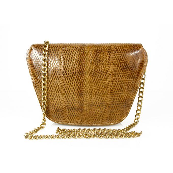 Vintage Honey Brown Snake Skin Snakeskin Gold Tone Chain Clutch Shoulder Bag