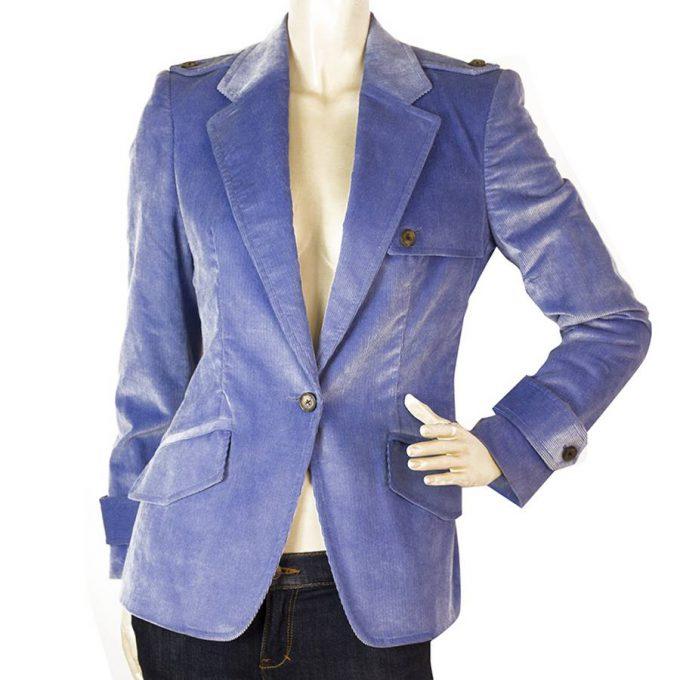 Carolina Herrera Cornflower Blue One Button Style Corduroy Jacket size 8