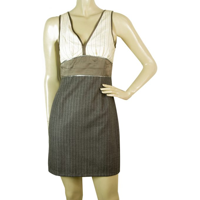 Catherine Malandrino Cotton Top Wool Skirt Striped Mini Gray & White Dress sz 2