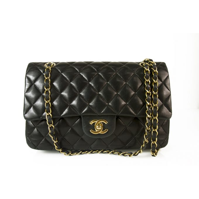 CHANEL Black Lambskin Leather Classic Double Flap Small Bag Gold hardware