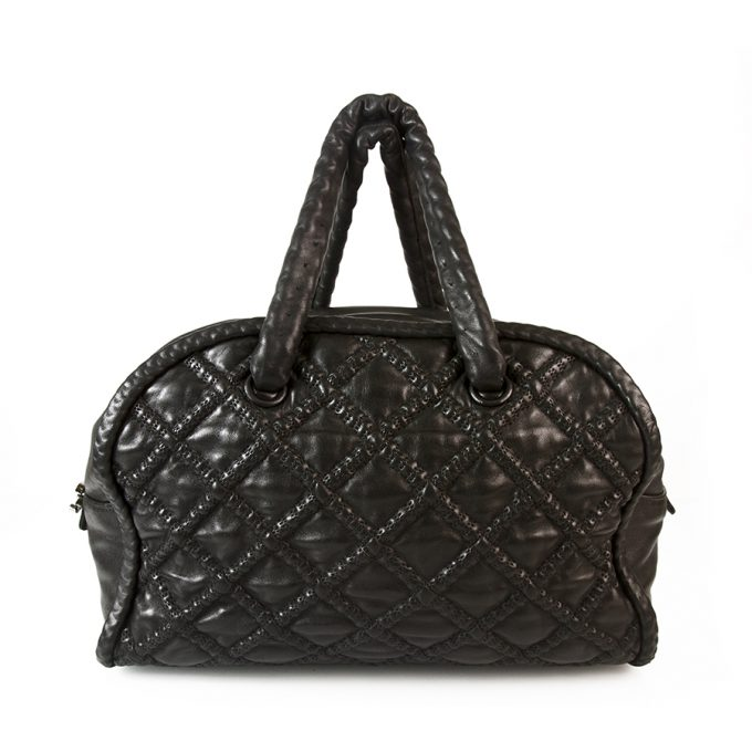 CHANEL Boho style Black Leather Large Bowling bag