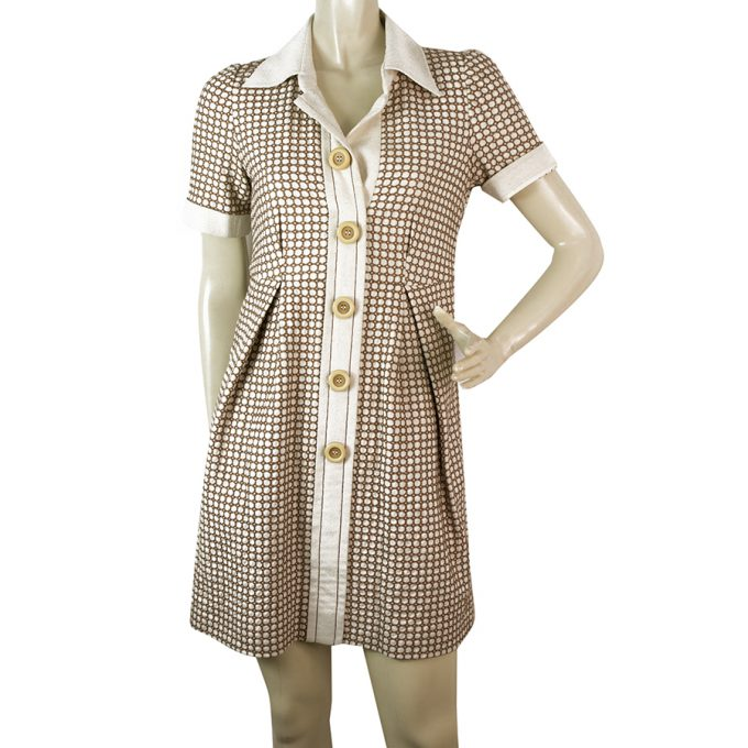 Chloe Brown & Cream Large Buttons Mini Length Shirt Like dress size 36