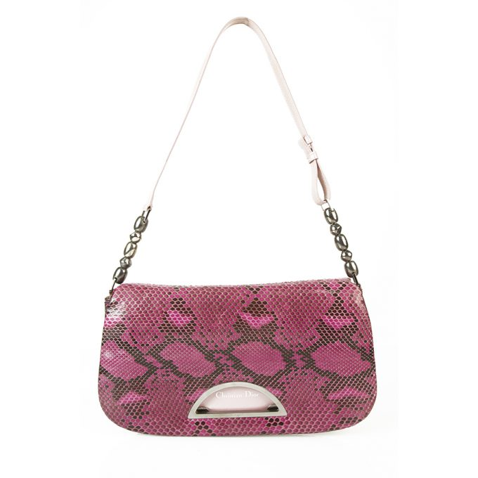 Christian Dior Malice Purple & Black Python Snakeskin Shoulder Bag Flap Bag