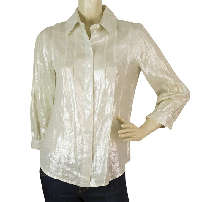 Christian Dior Boutique Off White Linen Shiny Button Down Shirt Top Sz 38