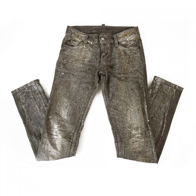 Dsquared 2 Gray Denim Glitter Shiny Trousers Pants w. Cuff Zippers sz 38