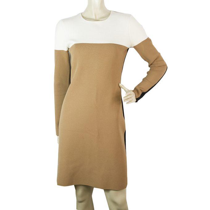 DVF Diane Von Furstenberg Merinos Wool Knit Beige Black Mini Dress Sz S