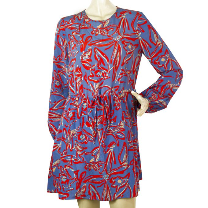 DVF Diane Von Fustenberg Blue Red Silk Printed Long Sleeve Mini Dress