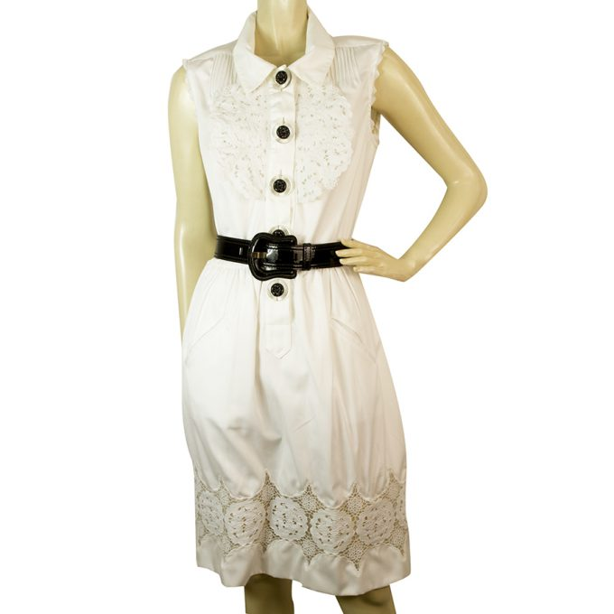 Fendi White Starched Lace Flowers Sleeveless Summer Black Belt Dress Size 42