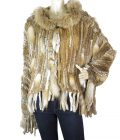 Galliano Beige Brown Hues Long Hair Rabbit Fur w. Hood One Button jacket 26/ 40