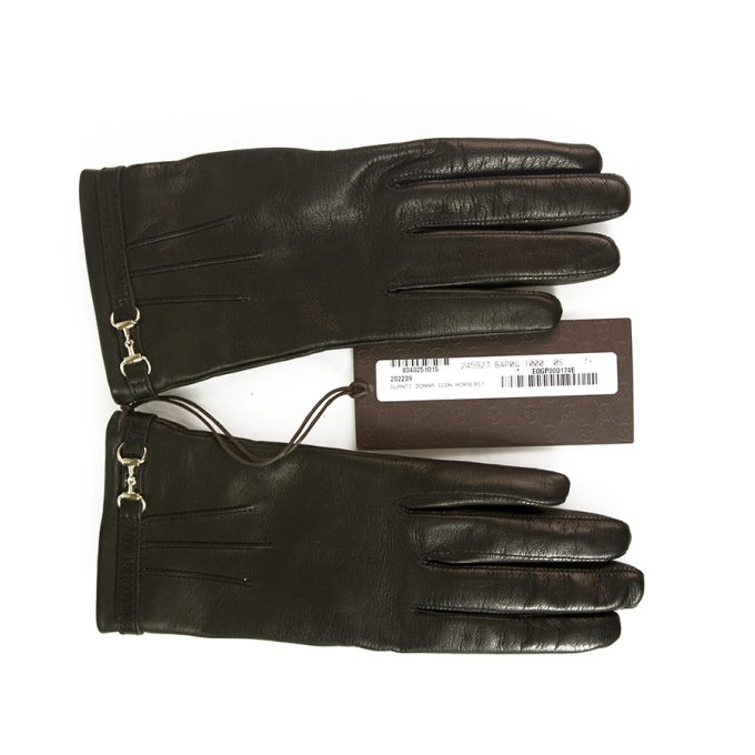 Gucci Women's Black Leather Gloves with Silver Tone Horsebit and Logo size 7.5