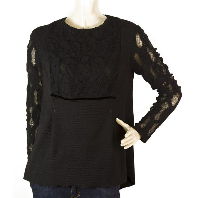 High (Tech) Black Polyester Lace Long Sleeves Top Blouse size 44