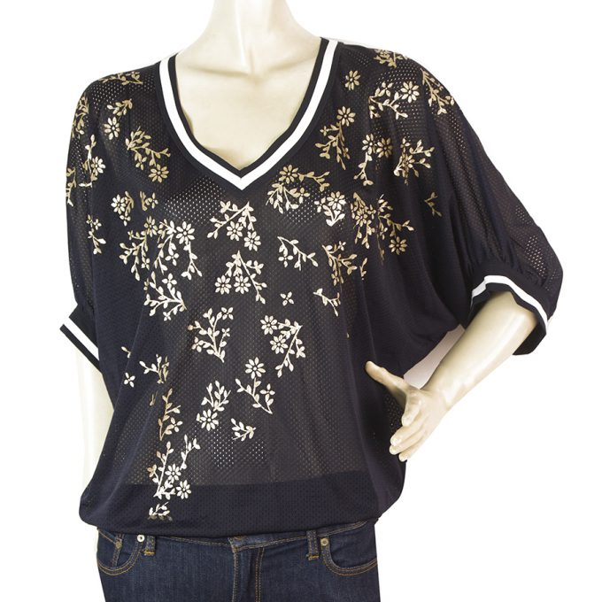 High (Tech) Blue w. Gold Flowers Perforated Dolman Sleeves Top Blouse size 44