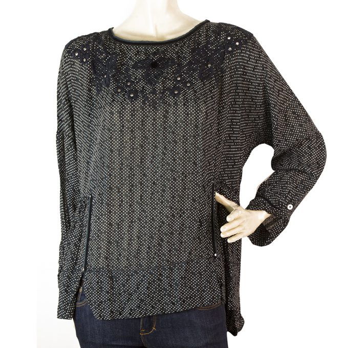 High (Use) Black & Blue w. White Dots Long Sleeves Top Blouse size 46