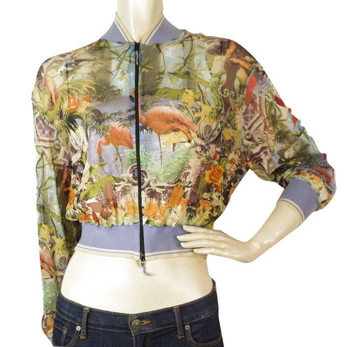 Jean Paul Gaultier Soleil Multicolor Flamingo Bomber Style Summer Jacket sz M